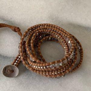 Chan Luu Leather & Gem Stone Wrap Bracelet